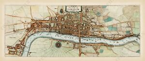 antique-old-map-plan-London-Q-Elizabeth-time-Stow-Strype-1720-art-poster-print