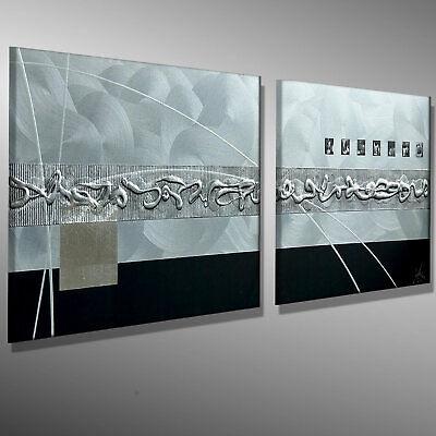 Moderne Malerei Kunst Original Acrylbild Leinwand Bilder Abstrakt Mico 120x40 3d
