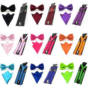 Men-Satin-Solid-Color-Bowtie-Y-Shape-Suspenders-Handkerchief-Pocket-Square-Set