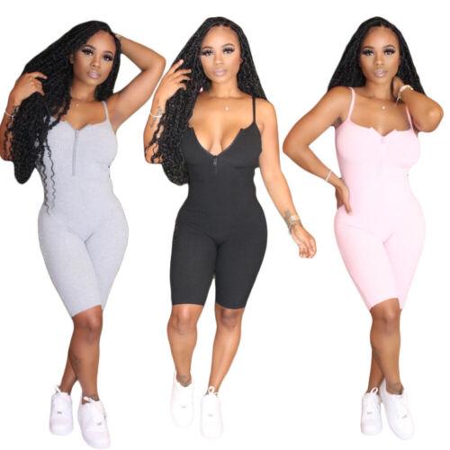 NEW Sporty Women/'s Lowcut Spaghetti Strap Zipper Skinny Solid Casual Jumpsuit