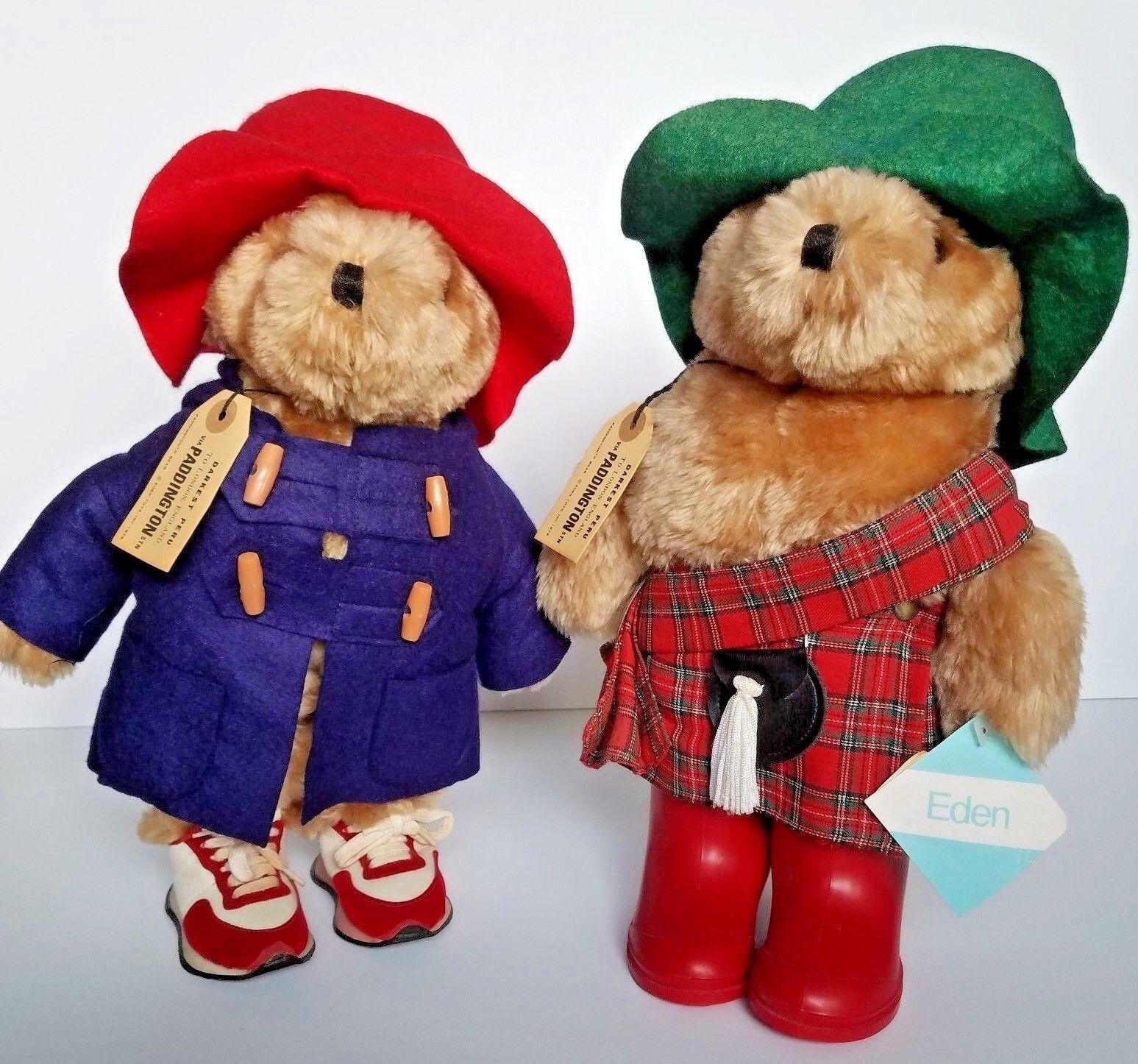 Vintage Lot of 2 Plush Paddington Bear Dolls Original Scottish Outfits Clothes