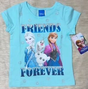 Disney Frozen Girl Elsa Purple T Shirt Top Size 2T 3T 4T Glitter Short Sleeve