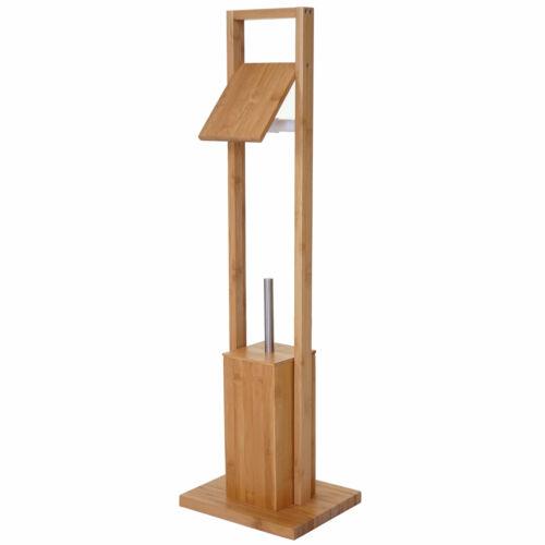 bambus HWC-B18 WC-Papierhalter Klopapierhalter Toilettenbürste