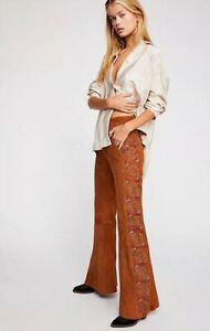 NEW-Free-People-Beautiful-Daze-Suede-Embroidered-Flare-Pants-Size-0-Festival