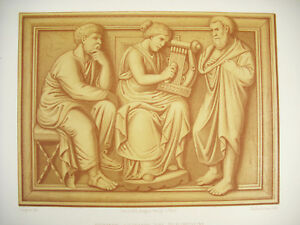 Woman-Playing-Of-Plectrum-Italy-Kellerhoven-D-039-Apciappori-Litho-Xixth-1858