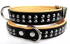 HALSBAND - Hundehalsband, NIETEN, Halsumfang 41-47cm,Echt LEDER - Schwarz-Natur