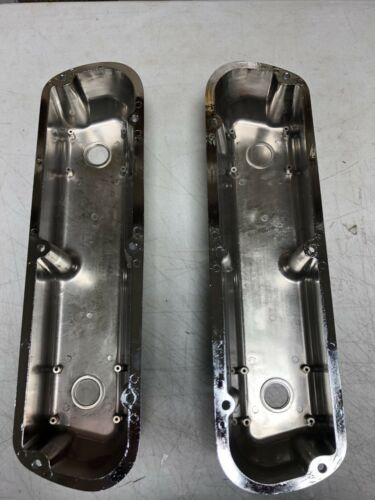 Small Block Ford Valve Covers Ball Milled Tall CHROME 289 302 350 SBF Mustang