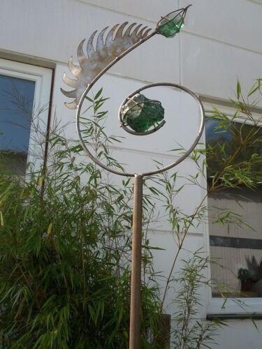 Garten Dekoration,Gartenstecker Eisen/& Glas grün Glaskugel Beetstecker Metall