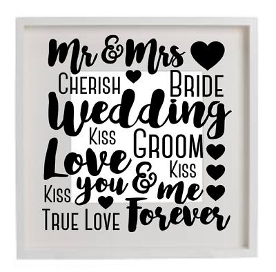 Happy Wedding Vinyl Decal Sticker Decor Frame Custom Text Bride Groom USA Seller