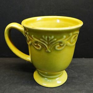 Chris Madden Corvella Gold Footed Mugs Mustard Yellow Embossed | eBay