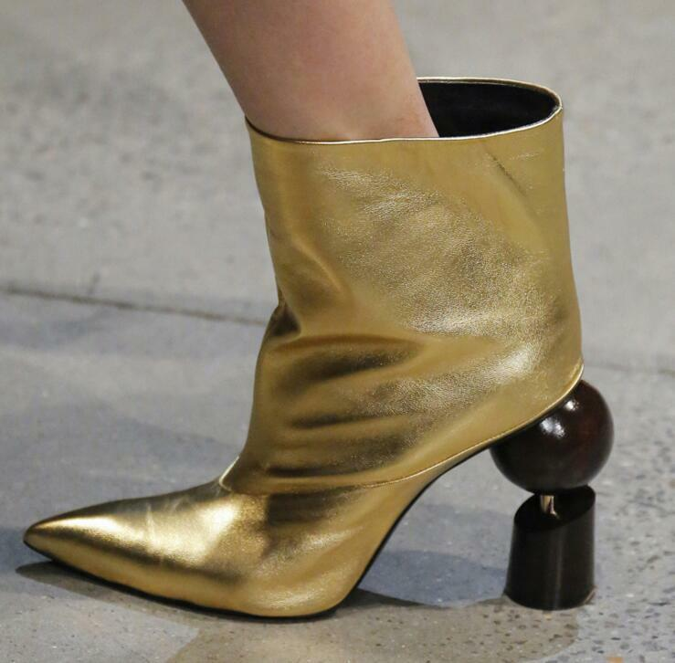 Hot WOmen's Pointed Toe High Block heels Leather Gold Ankle Boots US4.5-15 35-48
