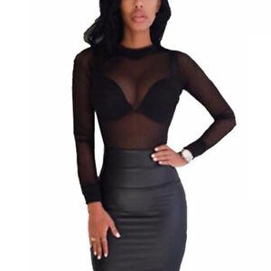 Mode-Femme-Sexy-Manches-Longues-Transparent-Chemisier-Maille-Haut-T-Shirt