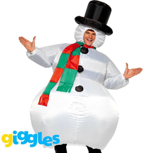 b0d88ee32ef Adult s Inflatable Snowman Costume   Hat Christmas Fancy Dress Xmas Outfit