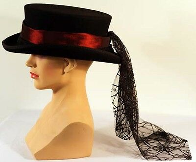 Steam-Punk-Gothic-Whitby-DEEP RED TAFFETA HAT BAND WITH BLACK SPIDER TAIL DRAPE