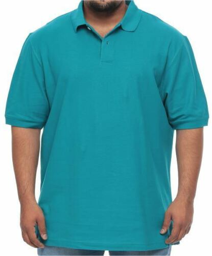 Harbor Bay NEW Big /& Tall Aqua Blue Pique POLO Short Sleeve Shirt