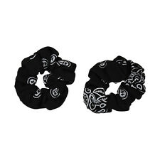 Two Great Soft & Stretchy Cotton Black Bandana Hair Twisters Ponytail Holders