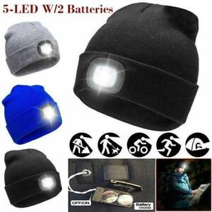 NEW-Beanies-Hat-With-LED-Head-Light-Torch-Knitted-Baggy-Cap-with-2-Batteries-NEW