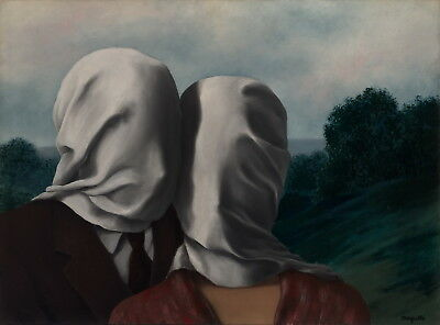XuFan The Lovers by Rene Magritte Canvas Painting Art Print Poster Wall Bedroom Decoraci/ón para el hogar 60cm x90cm Sin Marco