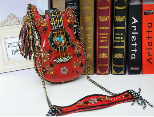 Real leather  personality handmade luxury guitar shape shoulder bag