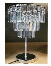 3-tier Contemporary Chrome Victoria Table Lamp With acrylic rectangle beads