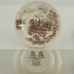 VINTAGE-COLLEZIONE-CERAMICA-JOHNSON-BROS-ANCIENT-TOWERS-PIATTO-DESSERT