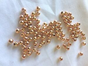 Rose-Gold-4mm-Round-Metal-Iron-Small-Spacer-Beads-Pack-of-100-aus-stock