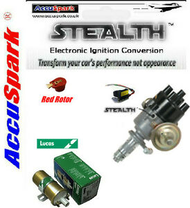 Land-Rover-AccuSpark-Electronic-45D-distributor-Lucas-Sport-coil-red-rotor