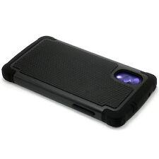 New Black Heavy Duty Hard Case Cover + Screen Guard For LG Google Nexus 5