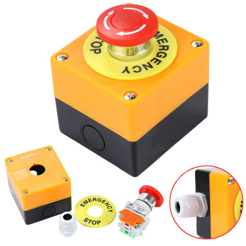 LY37 Waterproof Red Sign Mushroom Emergency Stop Push Button Control Switch Safe