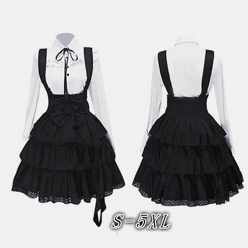 Women's Classic Lolita Dress Vintage Cosplay Anime Girl Blac