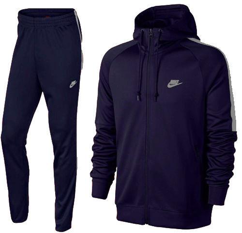 Uomo Bianco Tribute Zip Tuta Nike Giacca Nero Pantaloni Poliestere Blu Set Ur8qUaHw