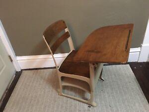 Details about Vintage Wooden School Desk