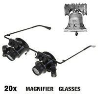 20x Hands Free Magnifier Led Binocular Magnifying Glasses Home Office School