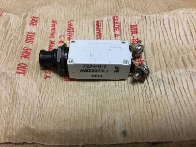 Klixon 2 AMP Aircraft Circuit Breaker 7274-11-2 MS22073-2