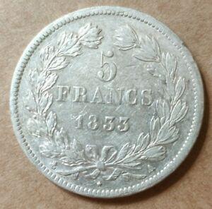 5-Francs-argent-Louis-Philippe-1833-A-PARIS-889-430-exemplaires