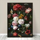 "Beautiful Vintage Art ~ CANVAS PRINT 8x10"" ~ 1650 Flowers in Glass"