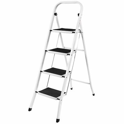 4 Step Ladder Anti-Slip Safety Rubber Mat Sturdy Durable Iron Folding Frame DIY