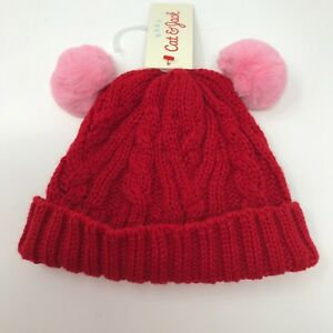 9d7d3538f Details about Cat and Jack Baby Red Cable Knit Beanie with Pink Poms Two  Sizes 0-6 or 6-12 Mos