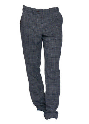 MENS MARC DARCY CHECK TROUSERS FORMAL SMART DION DION BLUE TWEED