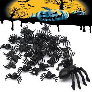 50pcs-Plastic-Black-Spider-Trick-Toy-Party-Halloween-Haunted-House-Prop-Decor