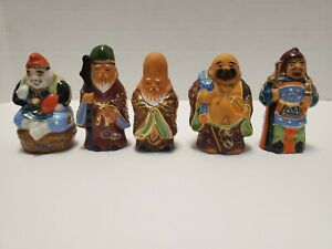 Lot of 5 Antique / Vintage Moriage Kutani Japanese Asian God Figurines