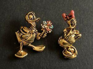 DISNEY-NAPIER-Vintage-DONALD-DAISY-DUCK-LAPEL-Bouquet-of-Flowers-Enamel-Pin-0