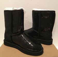 Ugg Classic Short Sparkle Sequin Black 3161 Sheepskin Boots Sz 8 Glitter NEW