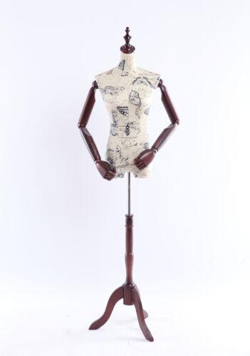 B-9-O weibliche Schneiderpuppe Holz Arme Hände verstellbar stoffbezogene Torso
