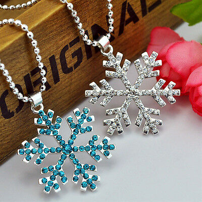 Women Ladies Blue White Crystal Snowflake Frozen Flower Pendant Necklace Gift