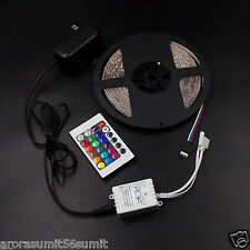 5M RGB 3528 WATERPROOF 300 LED STRIP + 24 KEYIR REMOTE CONTROLLER + Pwr Adapter