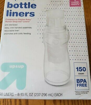 Disposable Bottle Liners BPA-free Pre-steralized SEALED 150 Count UP /& UP 4 OZ
