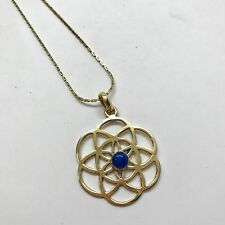 "Flower of Life Sacred Geometry Pendant Long 26"" Chain Necklace with Blue Stone"