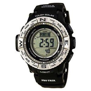 Casio-Men-039-s-Pro-Trek-Triple-Sensor-Digital-Grey-Dial-Black-Strap-Watch-PRW3500-1