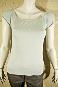 BERENICE-Taille-XS-34-Superbe-pull-manches-courtes-vert-gris-CACHEMIRE-SOIE
